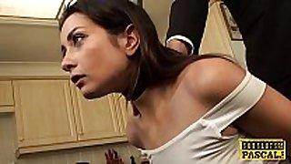 British squirter chick choked during anal fuck