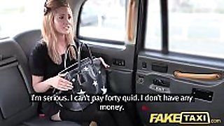 Fake taxi petite golden-haired in pull up stockings