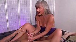 Ov40-mature wench jerking a youthful man