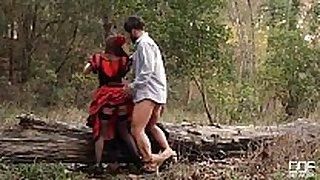 Russian black brown hair hair takes dick in the woods dresse...