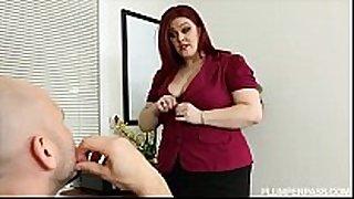 Sexy corpulent busty redhead fucks her hubby boss