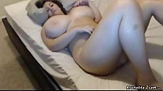 Busty bbw masturbates during the time that bounces her love wobblers