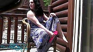Public resort patio fucking solo