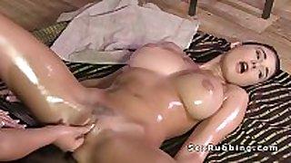 Huge brassiere buddies lesbian black brown hair receives massage in oil