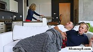Busty milf and legal age teenager mad threesome action on t...