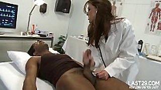 Sexy black brown hair hair doctor sucks black wang on examin...