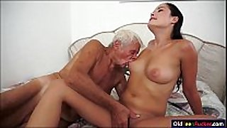 Dolly diore sucks off a grandpas pecker and sits...