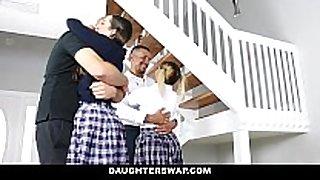 Daughterswap - nasty school angels screwed by o...