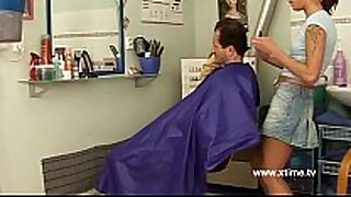 Mature man enticed by a young nasty hairdresser