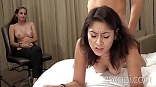 Shy latin hottie and her big tit gf first time porn