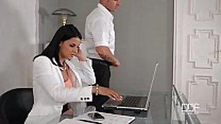 Office daydreamer fucks hot secretary in the arse