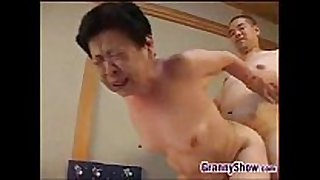 Japanese grandma giving a great blowjob job
