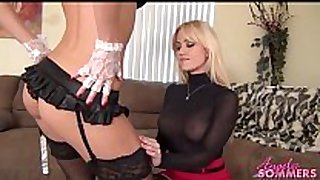 Hot blond boss makes maid eat love tunnel