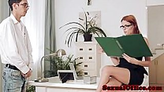 Redhead officebabe susana melo screwed closeup