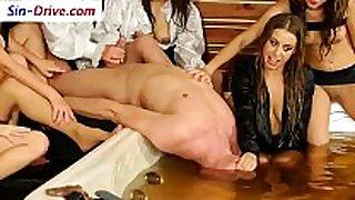 Femdom women receive ball sex cream flow