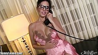 Sunnyleone sexiest messy pink underware on sunny...