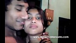 Bangla indian hottie in brassiere giving a kiss bigtits in nature's garb