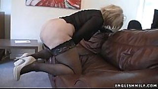 Big wazoo british milf in nylons with sex toy