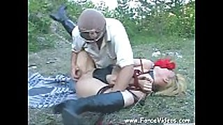 Masked man rapes a chicks hard in garden, extrem...