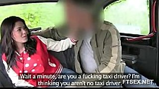 Brunette chick doesn't want to pay the taxi driver