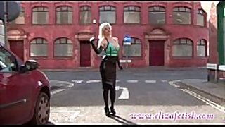 Hot latex clad golden-haired in high heels and william...