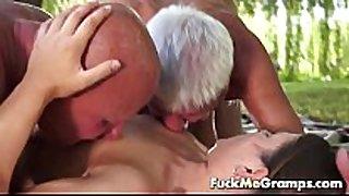 Jenny engulfing 2 real old cocks