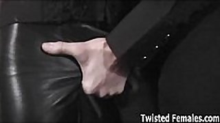Kinky honey triple teamed in the sex dungeon