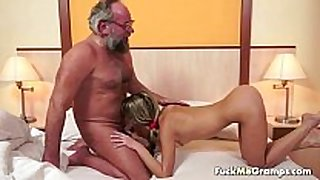 Lucky old bastard bangs fascinating slutty white excited white BBC slut