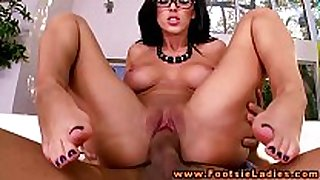 Foot hottie in spex feet and love tunnel fucked in high...