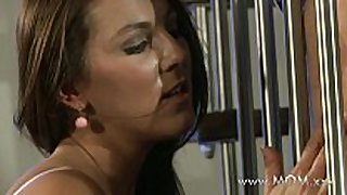 Mom sexually excited dark brown wants his pecker