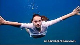 Julia swimming bare in the sea