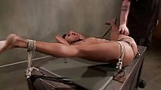 Tied up swarthy sub obeys her dominant during their...
