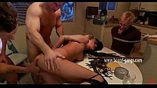 Blonde lewd white housewife thrown on table and fucked