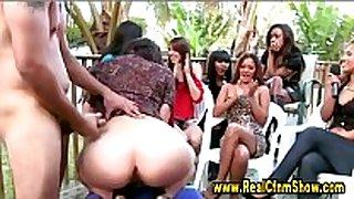 Cfnm dilettante femdom oral-job stimulation job and cock juice fountain
