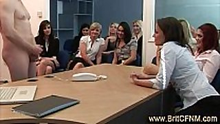 Laughing office girls see and engulf cfnm guy