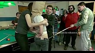 Blonde slut with big milk cans group-fucked in extrem...