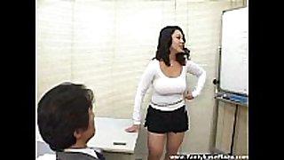 Big titted speaker in mini petticoat makes studs real...
