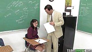 Cute dark brown schoolgirl abby receives her moist legal age teenager...