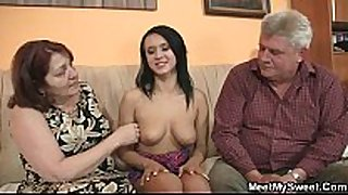 Nasty white white sweethearts fucking with her bf's old parents