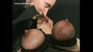 German slavemaster shouts at thrall and spanks her on...