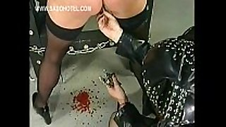 Slave got her fur pie lips widen with big meta...