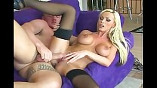 Busty golden-haired sex in nylons