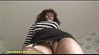Busty older tanya in nylons striptease