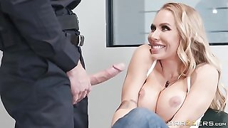 Horny blonde chick seduces and fucks bald police officer