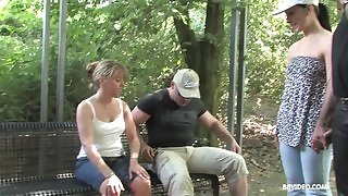 Amateur MILF with huge sexual appetite pleasuring horny dude in public