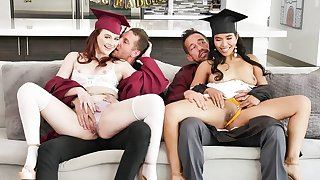 Two kinky college girls with huge sexual appetite swapping their dads