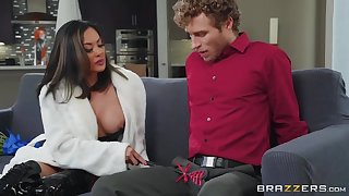 Curly-haired dude with hard dick fucks his Asian stepmom