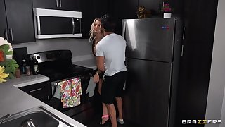 Juggy housewife gets fucked in both holes by her horny BF