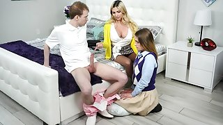 Frisky blonde lady teaches young couple how to fuck