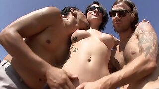 Dark-haired bitch gets fucked hard by four horny studs